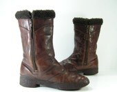 insulated zipper boots womens 7 m brown leather winter