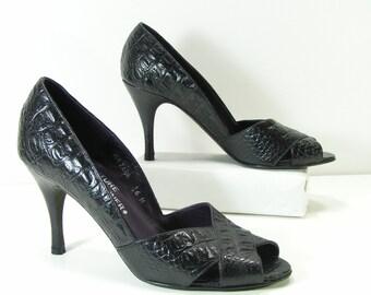 donald pliner stilettos shoes 6 m black alligator embossed leather pliner italy euro 36