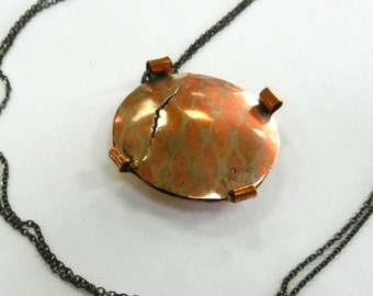 Fused silver and copper pendant