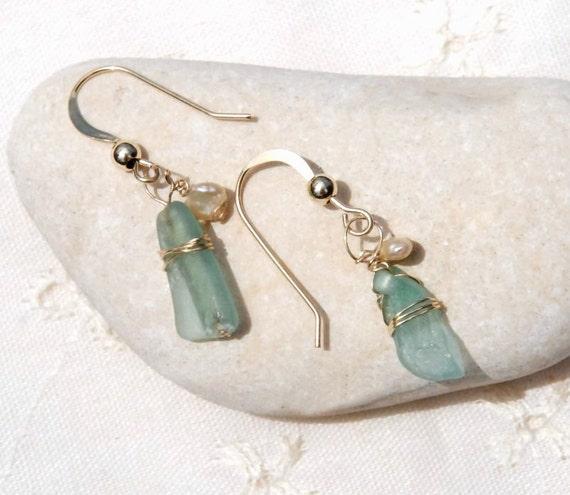 Small Aqua Roman Glass Earrings. Ancient Roman Glass Earring in Gold Filled. Earrings with Pearls. Roman Glass Jewelry. Free Shipping.