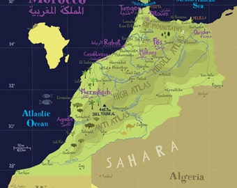 Illustrated Map of Morocco A3 / 11.69 x 16.54 Fine Art Illustration Digital Print Africa Moroccan Map