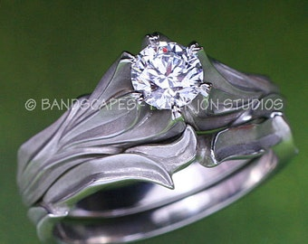 ALPINE LILY Wedding Ring Set, Half-Carat Diamond - Engagement ring and Matching Wedding band, in 14k white, yellow or rose gold