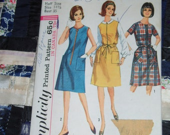 Vintage 1965 Simplicity Pattern 6095 for One Piece Dress or Jumper in Half Sizes Size 14 1/2, Bust 35