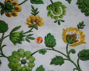 "Vintage 38 1/2"" Wide Cotton Fabric, Dynamic Floral Print, Greens and Golds on White, 3 Yards"