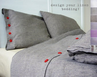 Linen bedding -Single- bespoke linens, luxury Belgian linen, Eco-friendly, custom made linens,