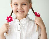 Hair clips - Hot pink girl flower hair clip - Kanzashi flower clips - Pink hair clips
