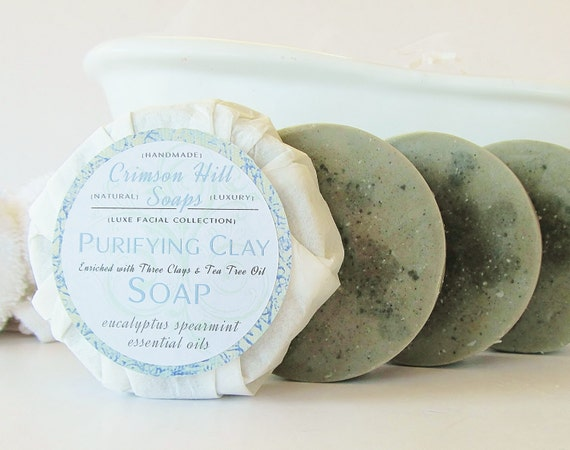 Natural Purifying Clay & Tea Tree Oil Round Facial Soap - face wash, vegan, acne cleanser, anti aging, glycerin