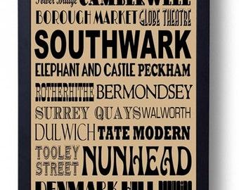 Bermondsey Rotherhithe Peckham Dulwich: Southwark London Typography Wall Art Poster
