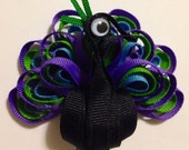 Proud Peacock Ribbon Sculpture Hair Clip - You choose colors