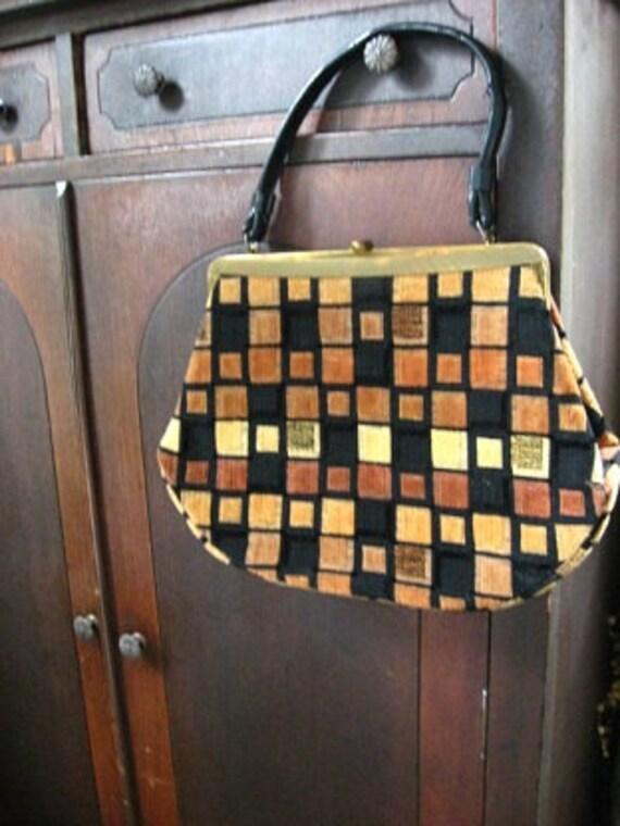 Checkered Tapestry Handbag pocket book 1960s era Geometric Blocks