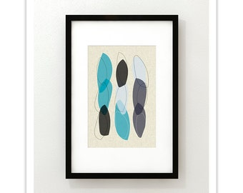 LOOP no.1 - Giclee Print - Mid Century Modern Danish Modern Minimalist Cube Modernist Eames Abstract