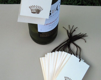 Wedding Favor Gift Tags with French Crown - Set of 12