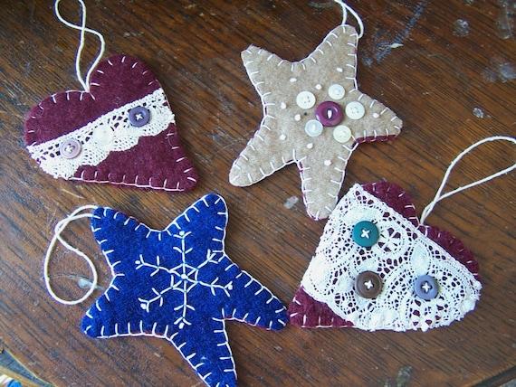 Wool Felt Ornaments- Primitive Hearts and Stars