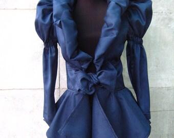 Elegant lady in blue jacket