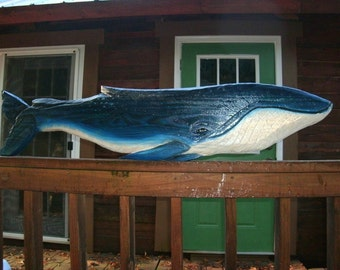 "Dark Navy Blue Whale 48"" chainsaw carved wooden nautical sculpture indoor or outdoor display wall mount beach cottage coastal living art"