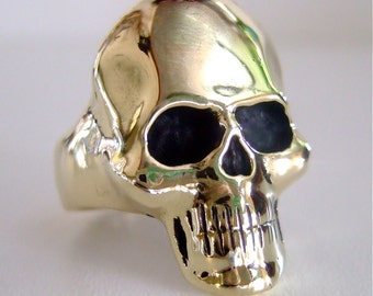 "SOLID BRASS ""Bent""  SKULL Ring in Gold Tone"