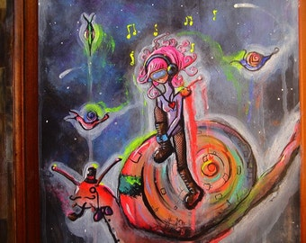 "SALE 17"" x 20"" Original Painting- Robot Girl on Snail in Space (""Herbert"")"