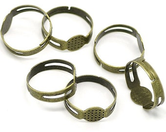 50 Ring Bases Antique Bronze Adjustable with Glue Pad - FD44