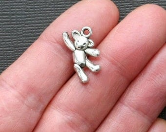 6 Teddy Bear Charms Antique  Silver Tone Adorable 2 Sided - SC1063