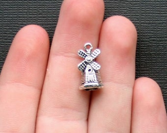 10 Windmill Charms Antique  Silver Tone 3 Dimensional - SC2204