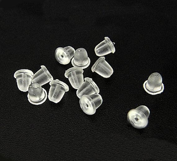 250 earring backs clear plastic earring stoppers 4mm