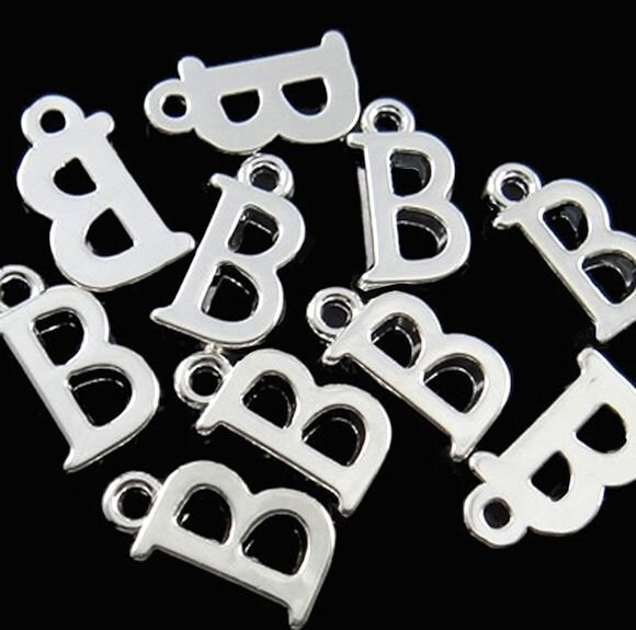 Silver Letter B: BULK 40 Letter B Alphabet Charms Silver Plated Great For So