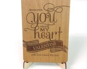 You Have My Heart Custom Wooden Valentine with Display Easel