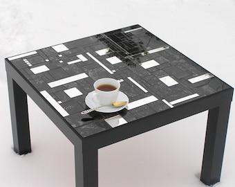 Black Side Table Coffee Table Glass Mosaic Black Mirrored, Livingroom Furniture, Unique OOAK Handmade
