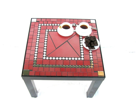 Mosaic coffee table modern furniture red black salmon pink raspberry color