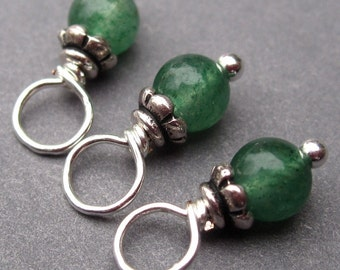Aventurine Charm, Dark Green Aventurine Gemstone, Wire Wrapped Bead Dangles with Petite Bead Caps 3.5mm