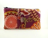 Pleated Pouch/ Zipper Pouch/ Wallet/Gift for Women/Purple and Orange designs - Eyelah