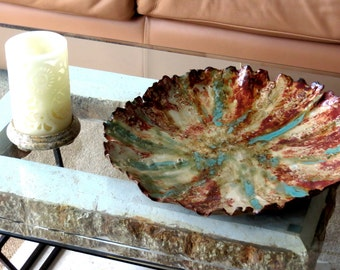 Earthy Ceramic Centerpiece Tray Rusty Earth Tones Verdigris Organic Vessel Clay Pottery Art Dish