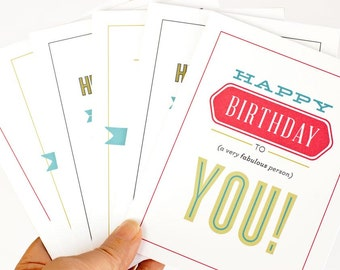Birthday Card Set, Typography Greeting Cards // Birthday Type