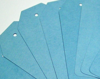 Blue Tags Upcycled from Manila Folders Set of 20 with Ties- Angle Top
