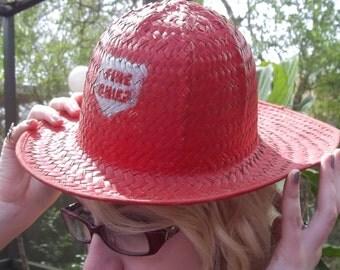 Straw Fire Chief Hat, Vintage Hat