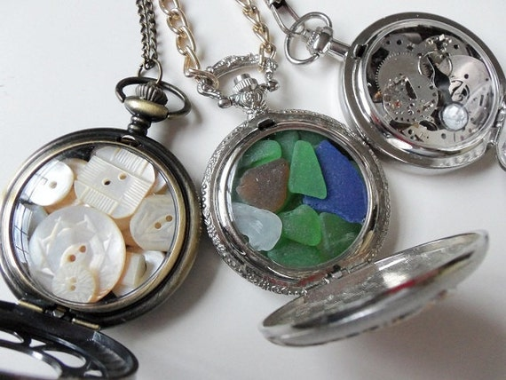 Pocket Watch Necklace Filled with Vintage Mother of Pearl Buttons, Sea Glass Railroad Train, Watch Parts