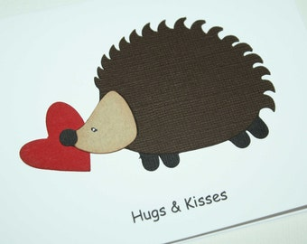 Valentine Card - Hedgeghog themed Valentine's day card - Hugs and Kisses