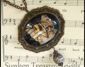 Cat - Kitten US Postage Stamp Glass Cameo Necklace