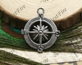 12 pcs of Antiqued silver metal Compass pendant ,charm pendant 25x30mm
