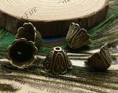 24 pcs of Antique brass metal lovely high flower bead cups 10x15mm,beadcap findings