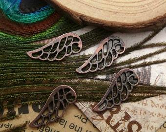 30pcs 9x21mm Antique copper angel wing pendant jewelry findings  Charm Pendant