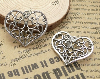 5 pcs of Tibetan silver lovely heart  Pendant ---pendant findings31x36mm