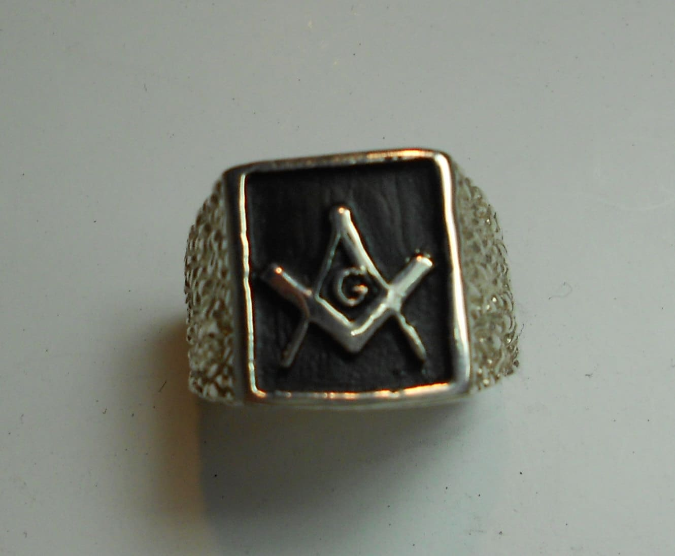 masonic ring rectangular solid sterling silver or gold