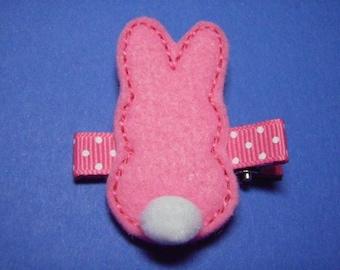 Easter Bunny Felt Hair Clip Clippie - Pink  - For Infant Toddler Girl