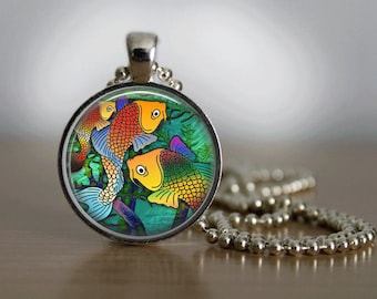 GlassTile Necklace Fish Necklace Glass Tile Jewelry Fish Jewelry Sea Life Silver Necklace Silver Jewelry
