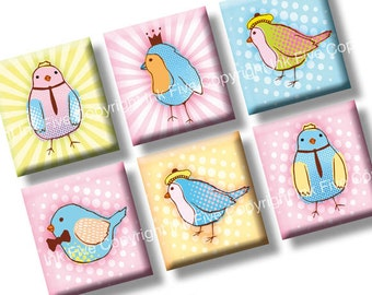 Spring Pastel Birds 0.75x0.83 inch squares. Two funny 4x6'' Collage Sheets for scrabble pendants. Digital download.
