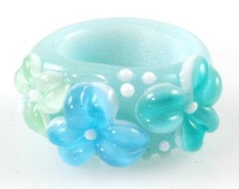 Regaliz Bead: Poseidon Aqua Floral Artisan Lampwork Glass Focal B0907-7