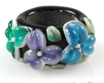 Regaliz Bead: Aqua Purple and Teal Floral Artisan Lampwork Glass Focal B0907-10