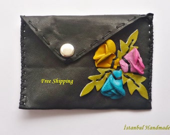 Leather Business Card Holder, Credit Card Case,Small Wallet with 3 D Rosebuds/ FREE shipping
