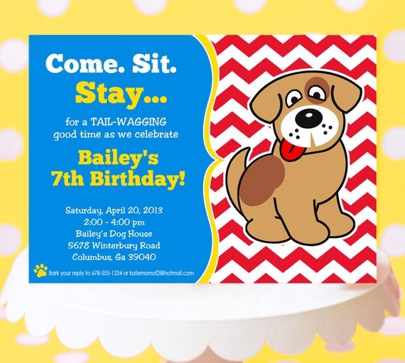 puppy party invitation  puppy birthday invitation printable  dog, Birthday invitations